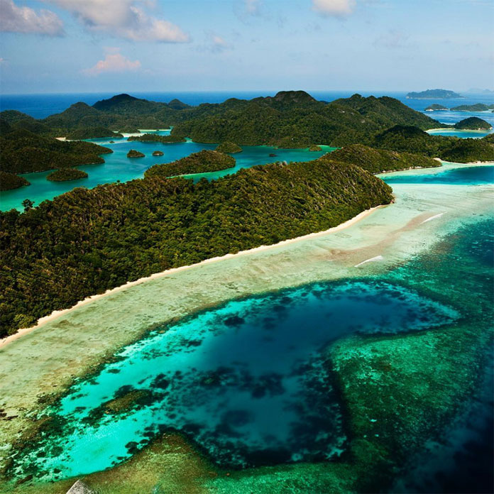 View of the rich waters of the Raja Ampat archipelago of Western Papua, Indonesia.
