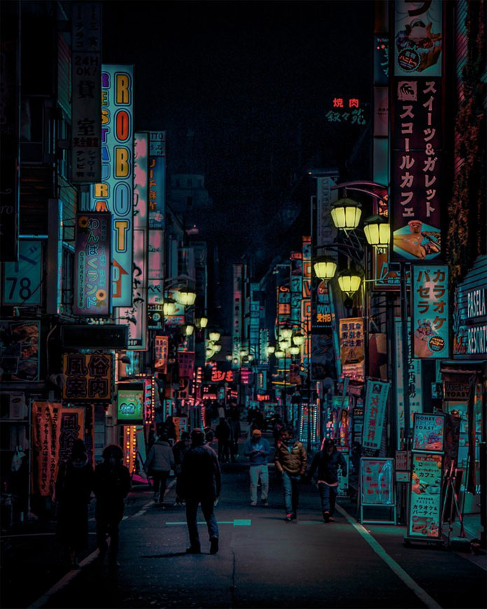 Walking the nocturnal streets of Shinjuku with all the neon signage.
