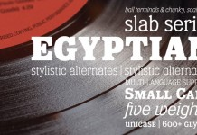 Eponymous, an Egyptian-style typeface with chunky, scalloped serifs.