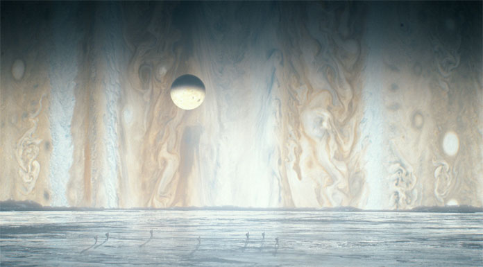 People hiking across the icy plains of Jupiter's moon Europa.
