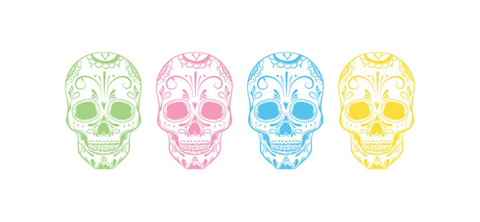 A typical skull with Mexican ornaments has been illustrated in four different colors.