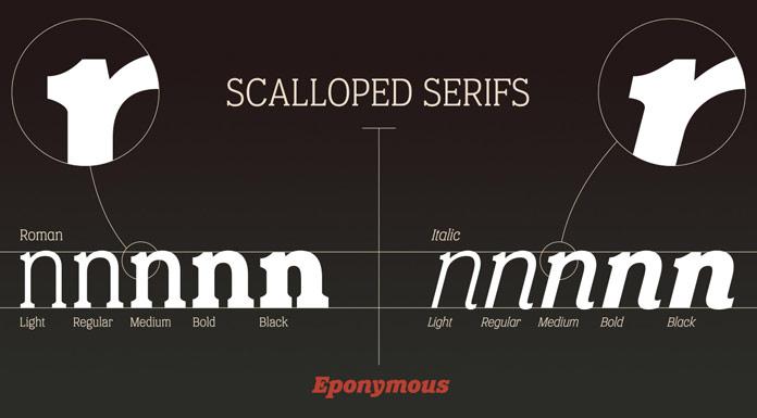 Scalloped serifs.