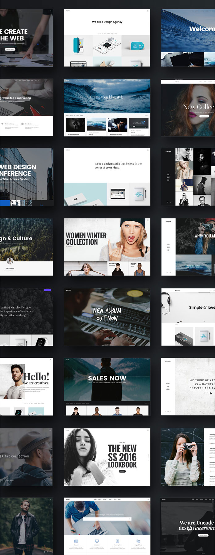 The Uncode WordPress theme comes with over 30 premade concepts for any need.