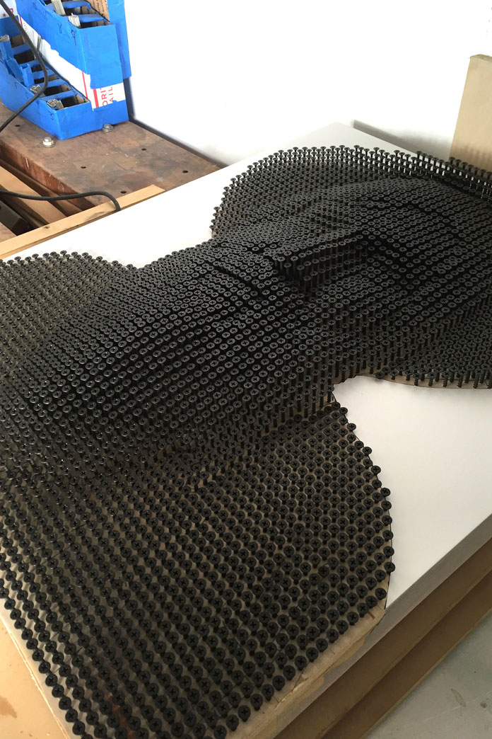 The three-dimensional relief has been created by Andrew Myers with countless screws.