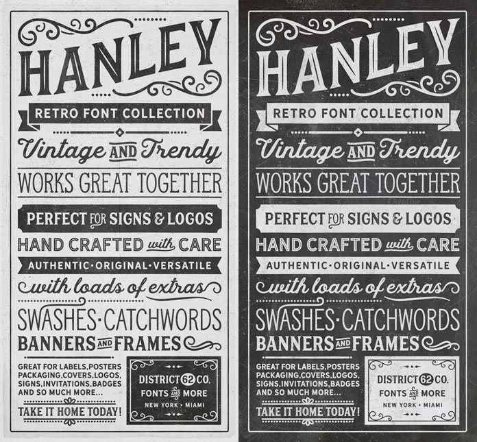 Vintage inspired typographic posters. This example shows all the included typefaces.