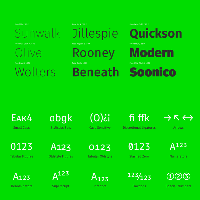 9 weights and lots of OpenType features.
