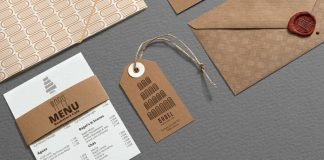 Close up of some branding materials.