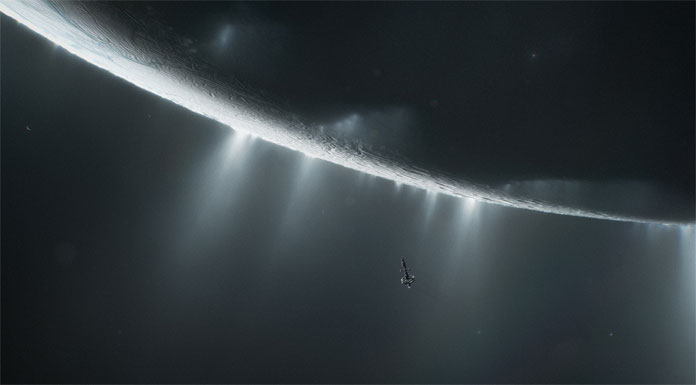 Spacecraft at cryo geysers on the south pole of Saturn's moon Enceladus.
