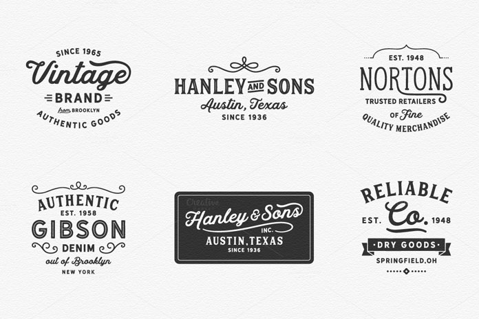 Vintage inspired logos and badges.