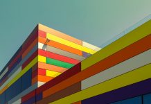A colorful building in Alicante, Spain.