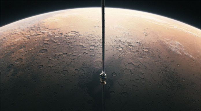 Space elevator at the northern parts of the Terra Cimmeria highlands on Mars.