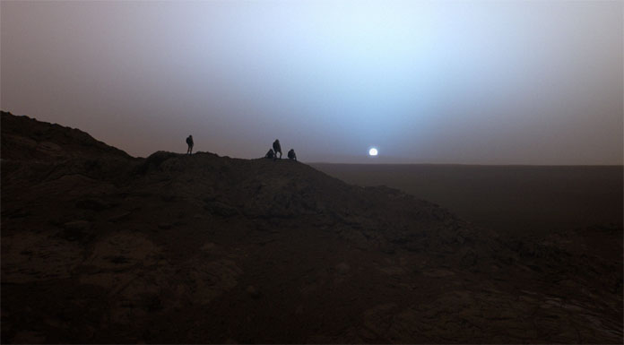 Gusev Crater – blue sunset on Mars.