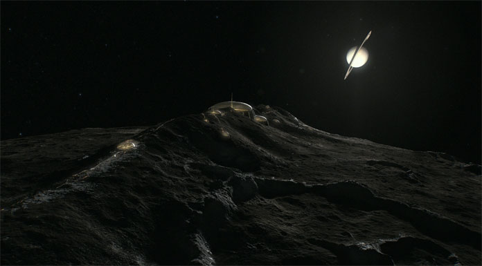 Shot taken in low orbit over Saturn's moon Iapetus.