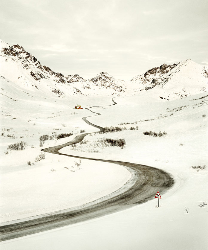 A small pass in the snowy mountains.