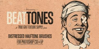 BEAT TONES – Distressed Halftone Brushes for Adobe Photoshop.
