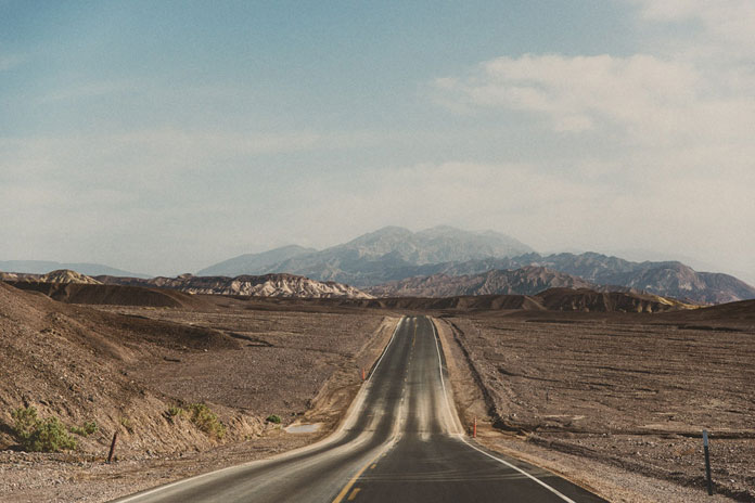 California travel photography – Highway at Death Valley.