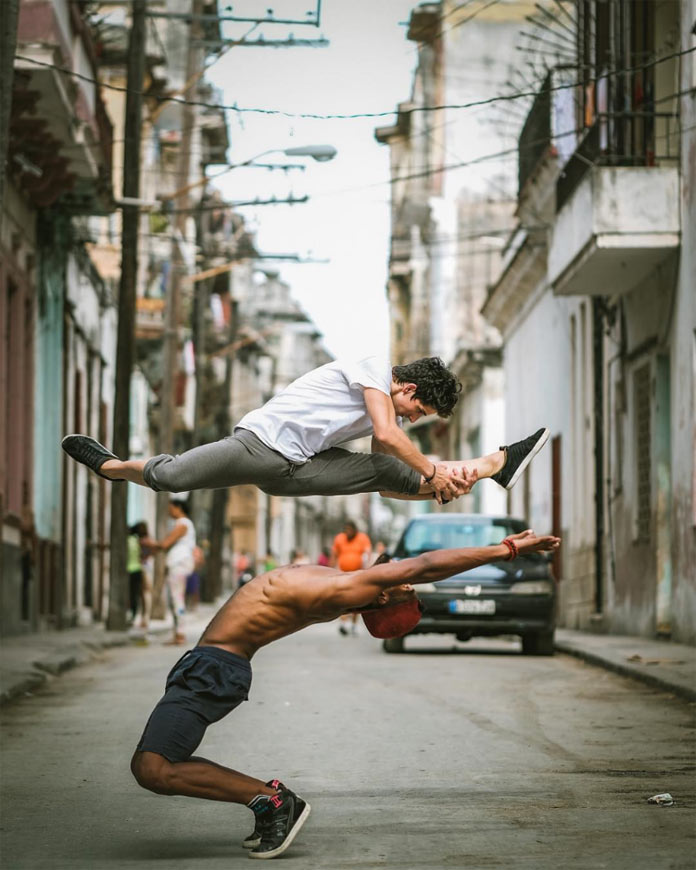 Javier Rojas and Keyvin Martínez in the streets of Havana, Cuba.