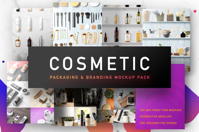 Cosmetic packaging mockups for branding.