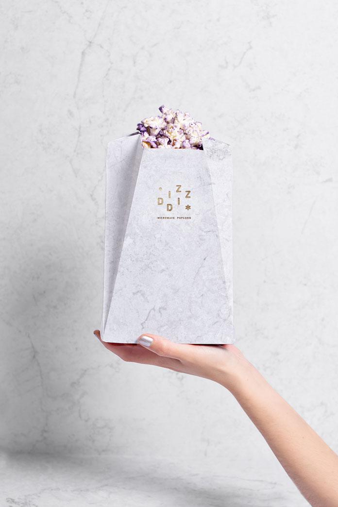 Diz-Diz Popcorn packaging design by TATABI Studio.