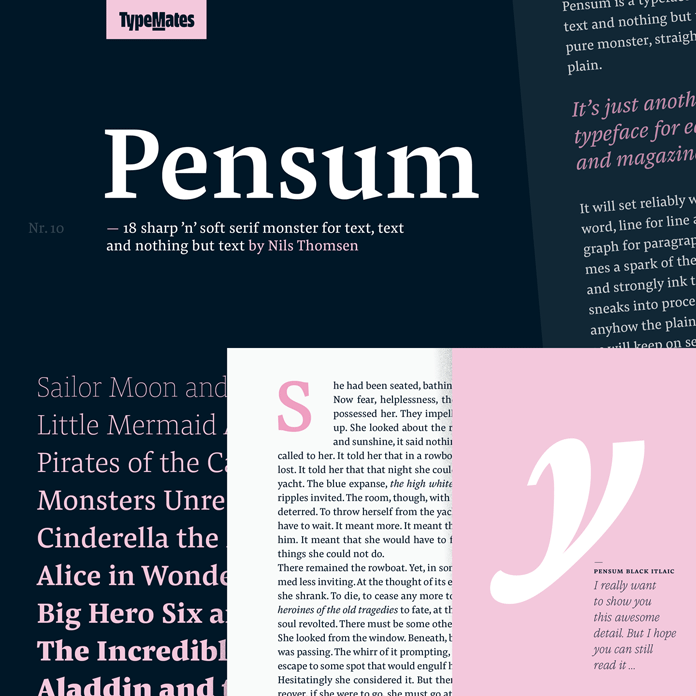 Pensum text font from TypeMates.
