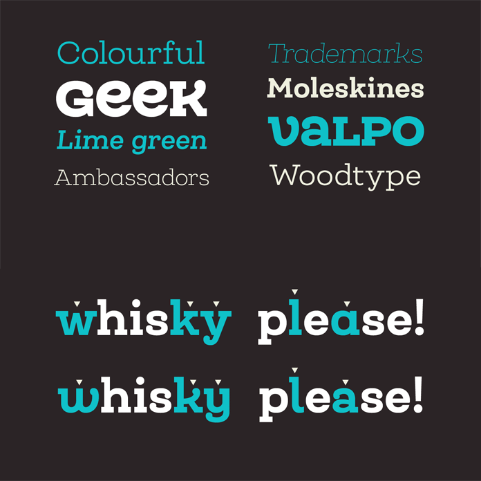 A slab serif type family of 25 fonts plus alternates and unicase letters.