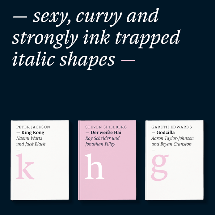 A typeface with sexy, curvy and strongly ink trapped italic shapes.