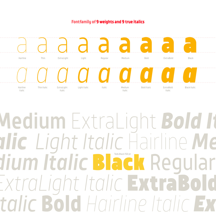 Font family of 9 weights plus 9 true italics.