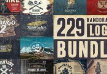 229 Hand-drawn logos bundle.