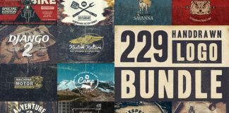229 Hand-drawn logos bundle.