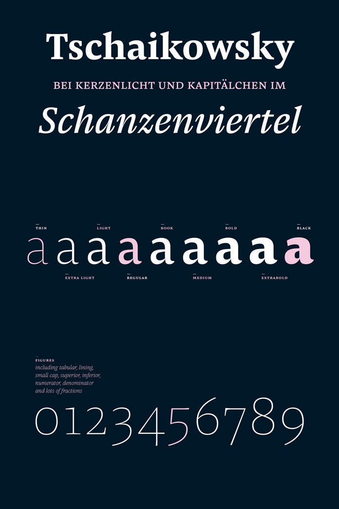 9 weights and diverse typographic features.