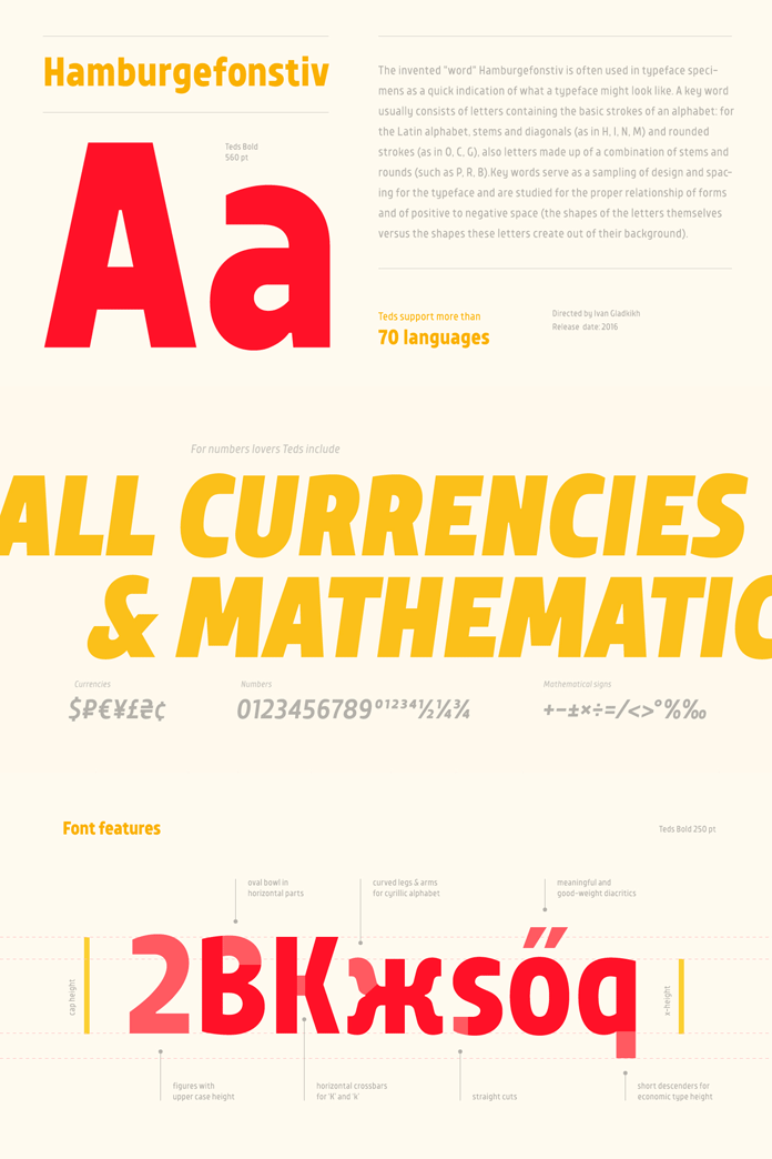 Multi language support and typographic features.
