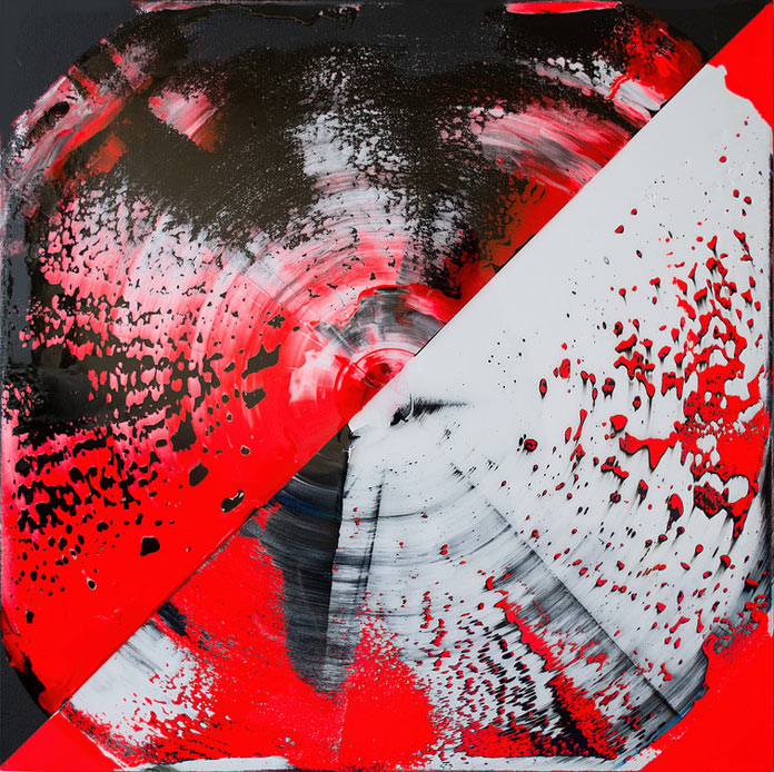 Fluorescent red and black created with acrylic and resin on canvas.