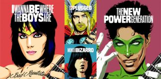 Guitar legends illustrated as comic book heroes by Butcher Billy.