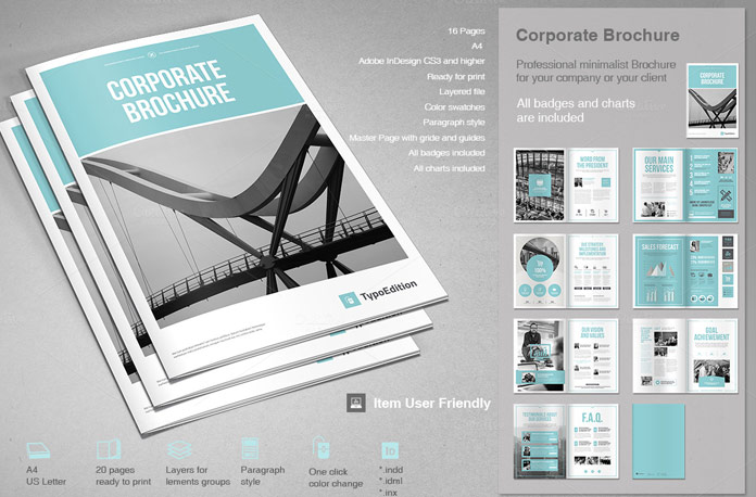 Corporate brochure template for adobe indesign for Indesign templates brochure