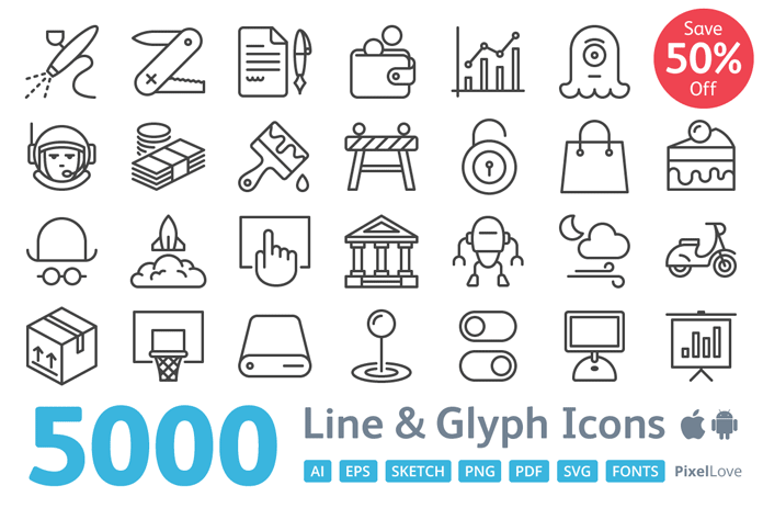 Pixel Love – 5000 icons for iOS and Android.