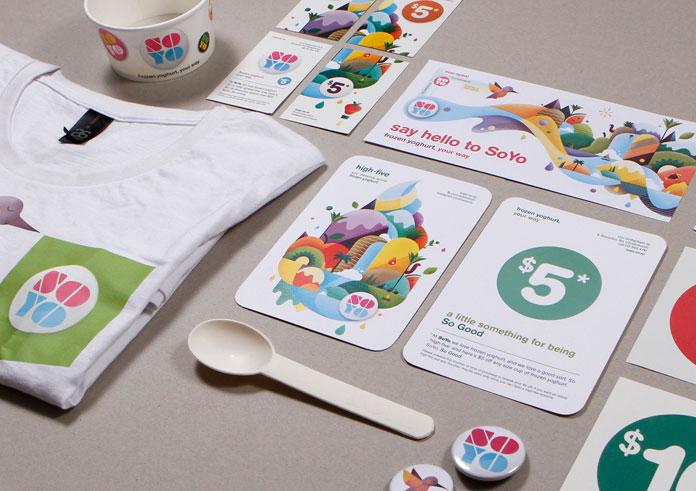 SOYO Yogur helado - diseño de la ilustración y de la comunicación de Brett rey.