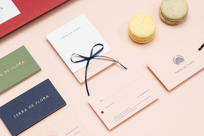 Stationery and branding materials.