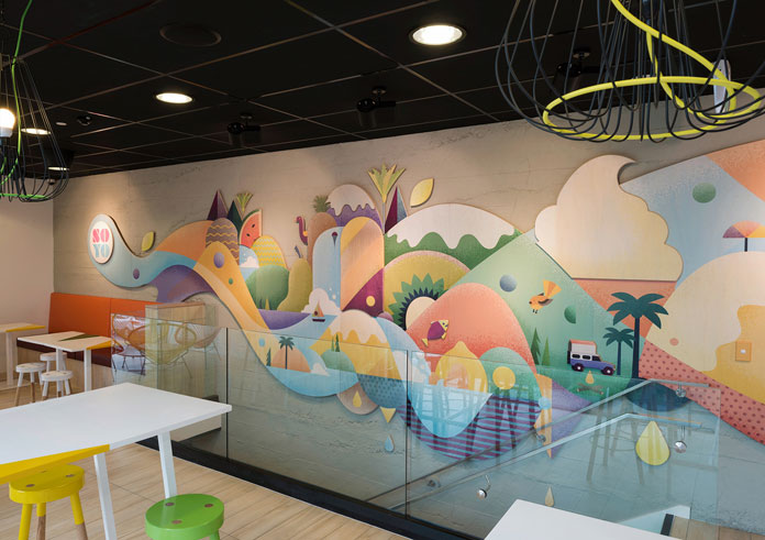 The illustrated mural within the store.