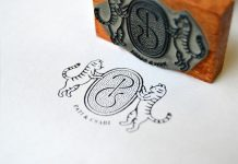 Stamp for Pati and Csabi, a young engaged couple with two cats.