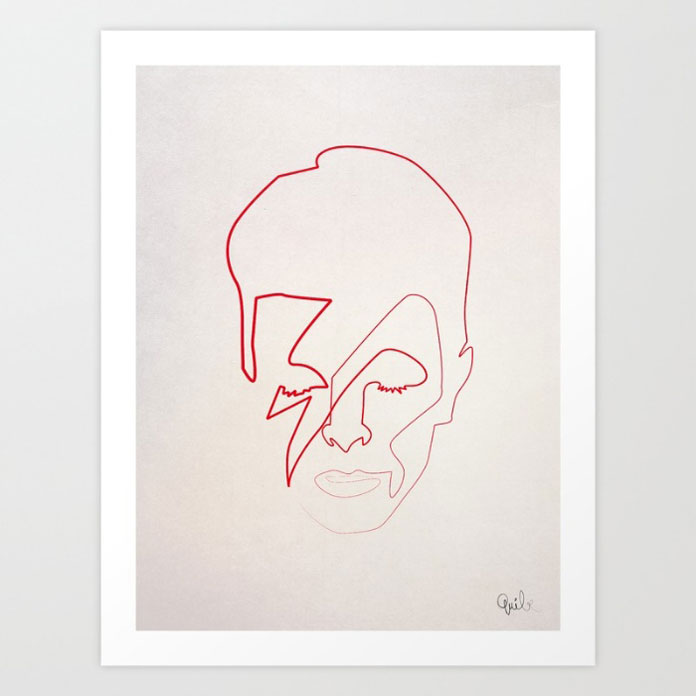 Aladdin Sane, David Bowie minimalist portrait.