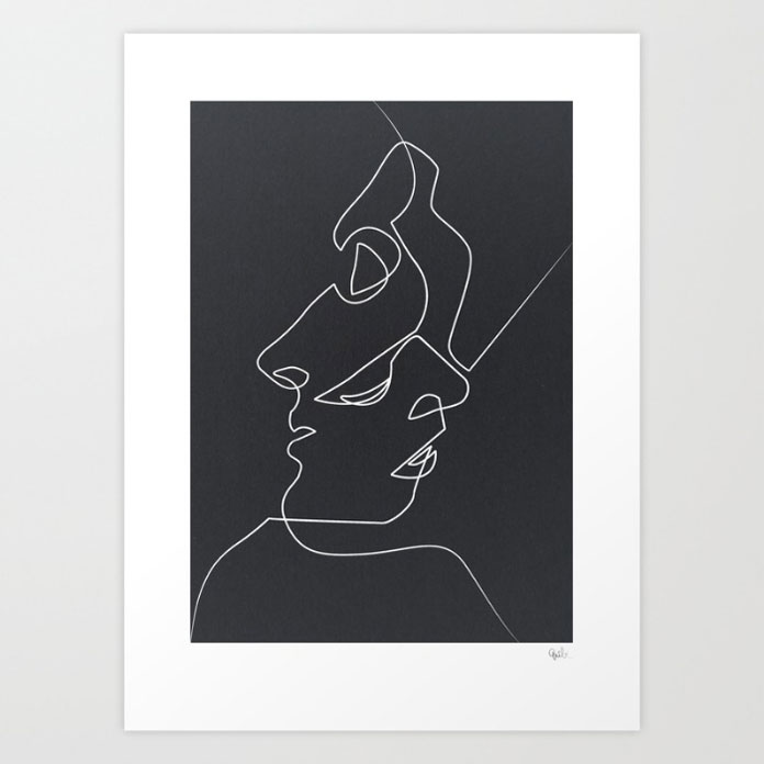 Close Noir – Giclée print by French illustrator Quibe.