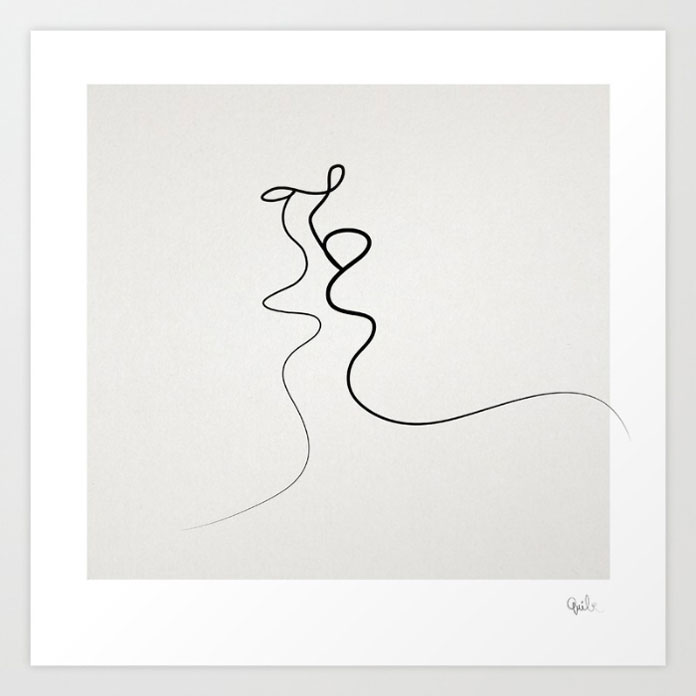 Kiss, drawing created from one single line.