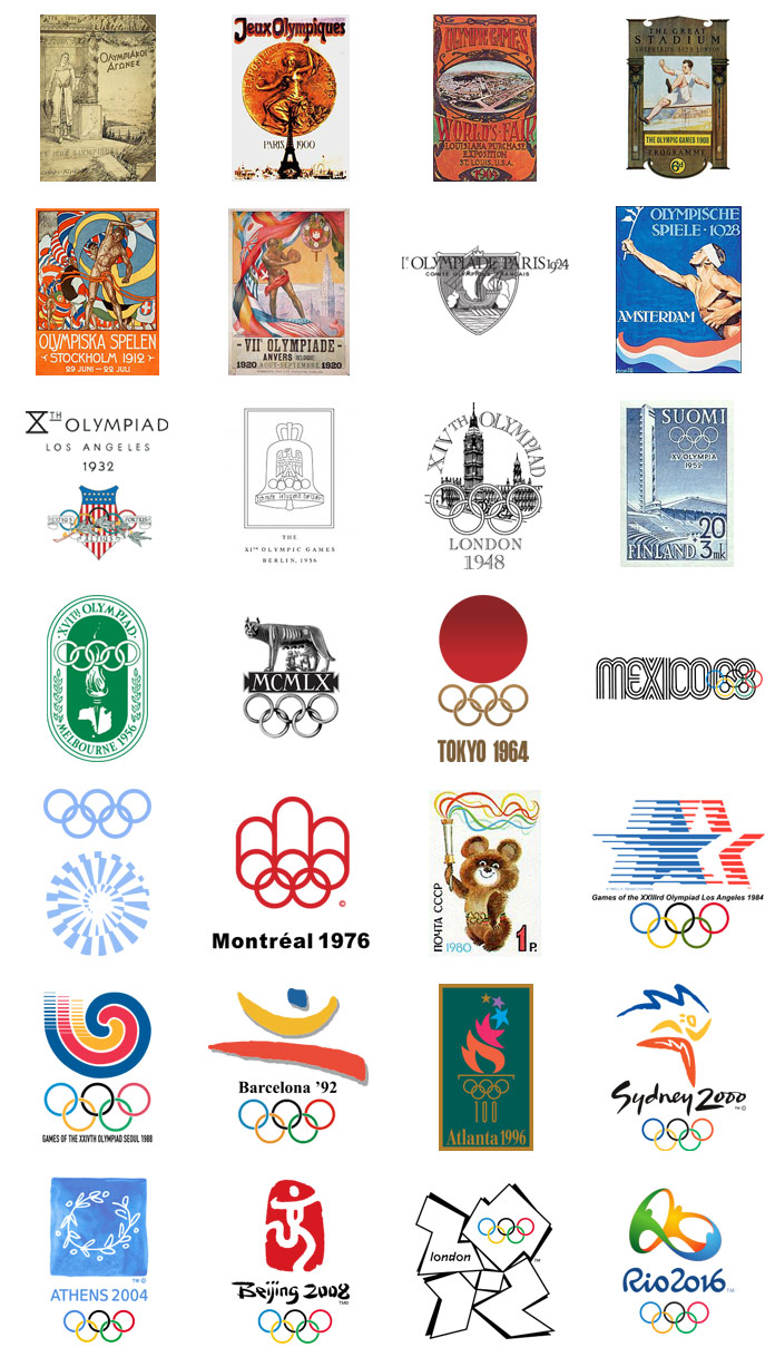 Summer Olympics logos and designs from 1896 - 2016.