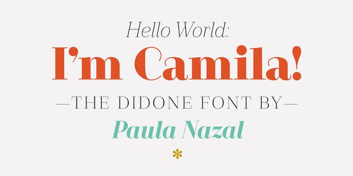 Camila font, a Didone type family by Paula Nazal.