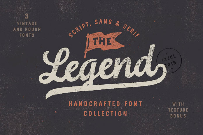 The Legend font trio plus bonus textures.