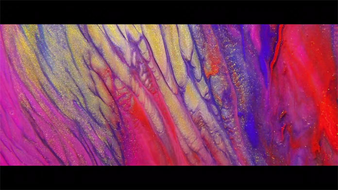 Compositions have been created using paint, oil, oat milk, remover, bleach liquide, and soap liquid.