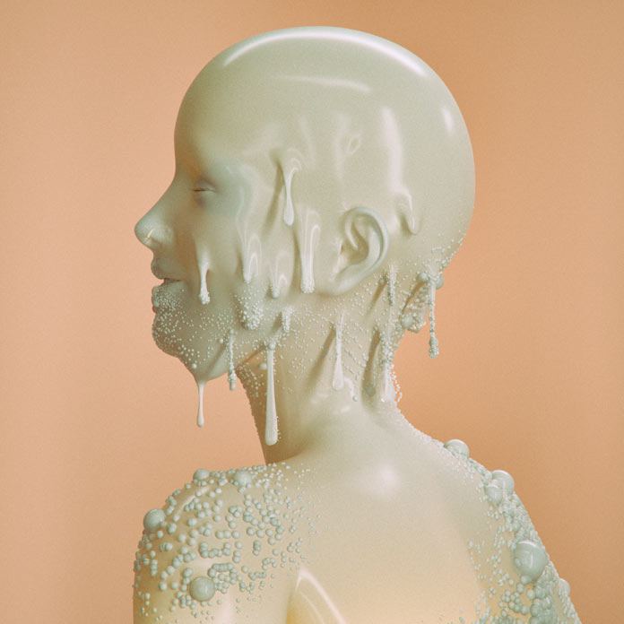 3D illustration of a wax-like face.