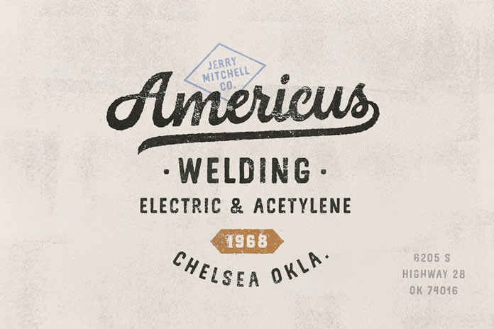 American style lettering.