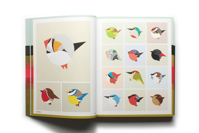 Bird graphics using simple geometric shapes.