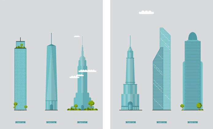 Buildings in a flat design.